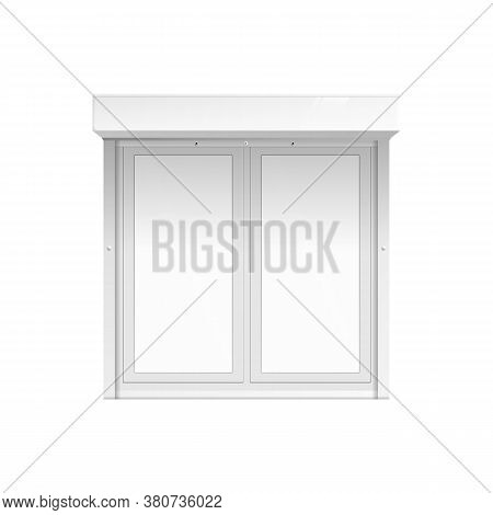 Realistic Outdoor Double Window Mockup Closed Shut With White Blank Glass