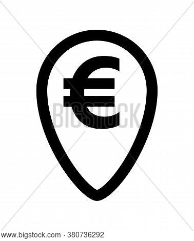 Euro Currency Symbol In Pin Point For Icon Isolated On White