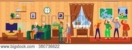 Nursing Home Interior Banner With Cartoon Elderly People Doing Fun Activities