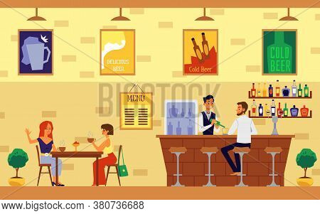 Cafe Or Restaurant With Bar Counter And Visitors Chatting Flat Vector Illustration.