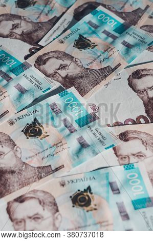 Ukrainian Money, Texture From Ukrainian Banknotes In The Denomination Of One Thousand Hryvnias, The