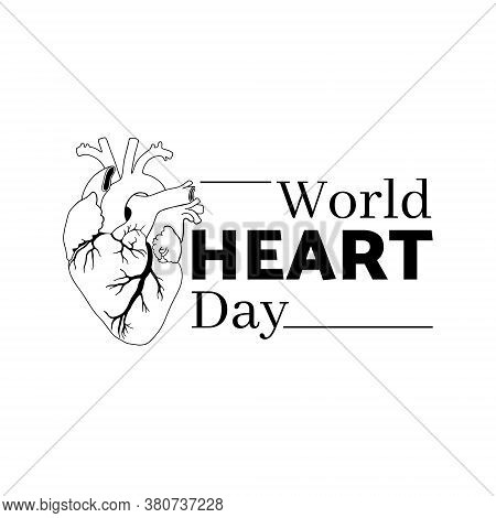Vector Illustration On The Theme Of World Heart Day On September 29. Decorated With Hand Drawn Heart