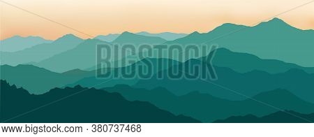 Vector Illustration Of Beautiful Dark Green Mountain Landscape With Fog And Forest. Sunrise And Suns
