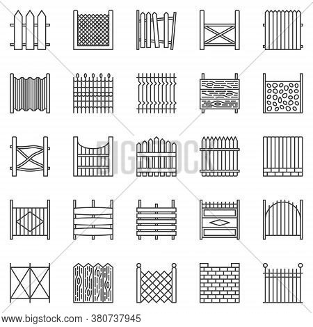 Fence Outline Icons Set. Fences Vector Symbols Or Design Elements In Thin Line Style