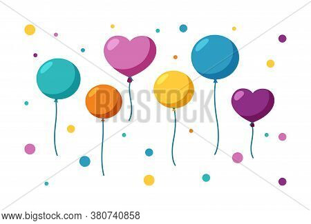 Colorful Balloons Of Different Sizes And Forms. Set Of Balloons For A Party Ot Celebration. Flat Vec