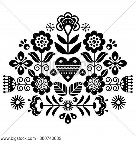 Scandinavian Folk Flowers Vector Design, Cute Spirng Floral Pattern Inspired By Traditional Embroide
