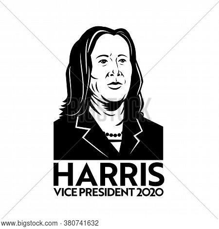 Aug 14, 2020, Auckland, New Zealand: Retro Style Illustration Of American Senator Kamala Devi Harris