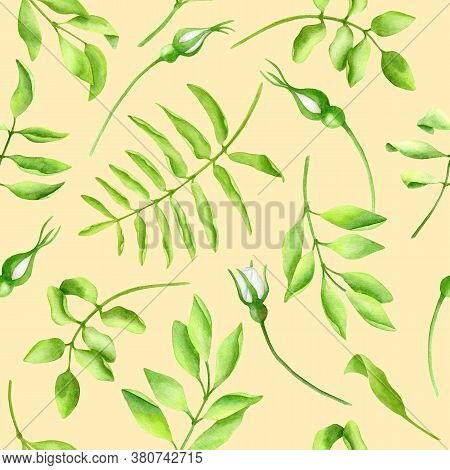Watercolor Green Leaves Seamless Pattern. Hand Drawn Branches, Twigs And Flower Buds On Pastel Yello