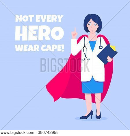 Young Adult Doctor With Hero Cape Behind Hospital Medical Employee Fights Against Diseases And Virus
