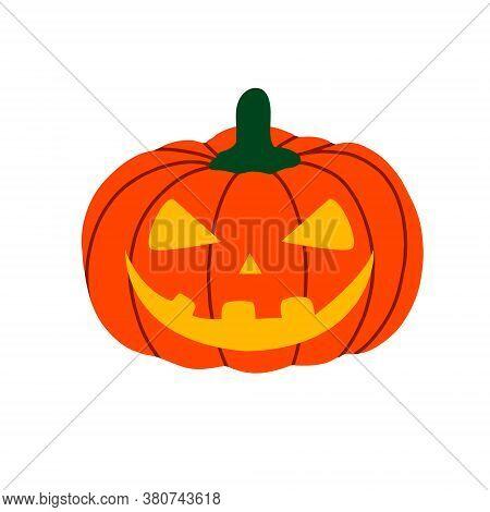 Evil Pumpkin For Halloween. Creepy Scary Pumpkin Lantern Is A Design Element For Halloween. Vector F