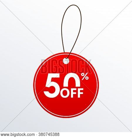 50% Off. Discount Or Sale Price Tag.  Save 50 Percent Icon. Vector Illustration.