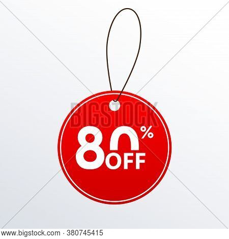 80% Off. Discount Or Sale Price Tag.  Save 80 Percent Icon. Vector Illustration.