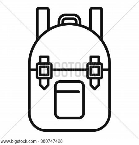 Survival Backpack Icon. Outline Survival Backpack Vector Icon For Web Design Isolated On White Backg