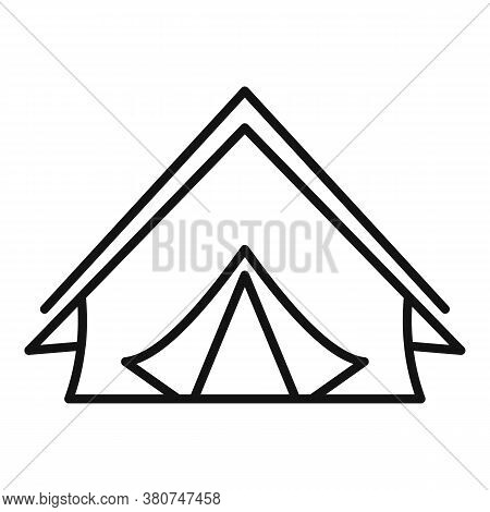 Survival Tent Icon. Outline Survival Tent Vector Icon For Web Design Isolated On White Background
