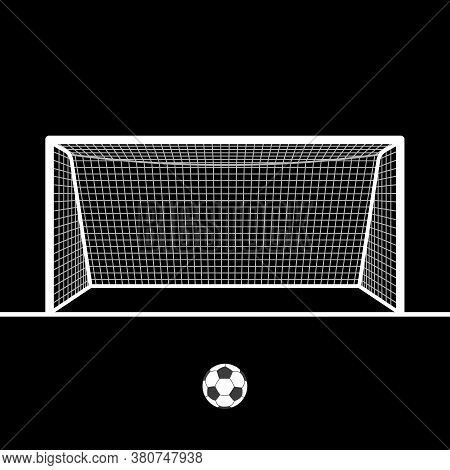 Soccer Goal With Ball. Football Hand Drawn Post Or Gate With Net. Vector Illustration.
