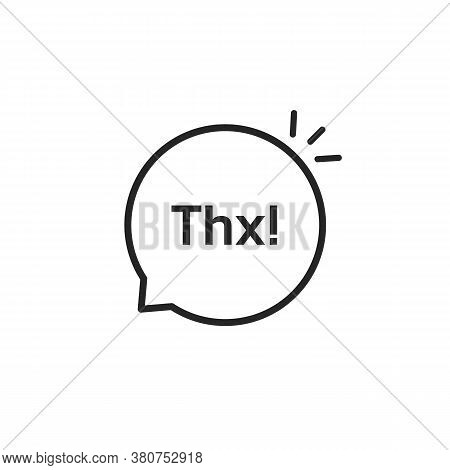 Thx Black Linear Minimal Bubble. Concept Of Thankfulness Popup Message For Chatting Or Small Talk Ba