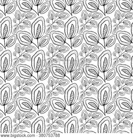 Inky Wild Meadow Leaves Seamless Vector Pattern Background. Black And White Line Art Dense Repeat Wi