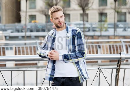 Stylish, Cool And Contemporary. Confident Man Lean On Railing Urban Outdoors. Fashionable Style. Cas