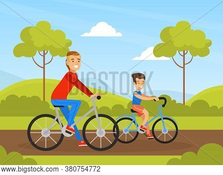 Father And Son Riding Bicycle In Park Outdoor, Active Holidays, Kid Summer Outdoor Activity Cartoon