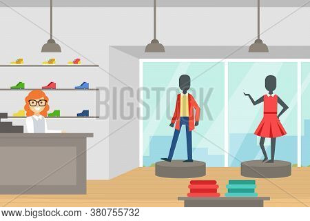 Fashion Store, Boutique Of Clothes And Shoes, Clothing Shop Interior With Seller At Counter Cartoon