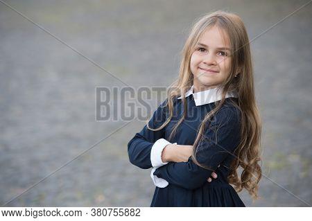 Back To School And Looking Cool. Happy Kid Back To School. Small Girl Wear School Uniform. Dress Cod