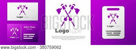 Logotype Crossed Medieval Axes Icon Isolated On White Background. Battle Axe, Executioner Axe. Medie