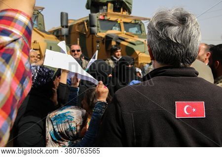 Aleppo, Syria 18 March 2018:\nveiled Muslim Women Call On The Turkish Army To Intervene To Solve The