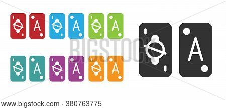 Black Tarot Cards Icon Isolated On White Background. Magic Occult Set Of Tarot Cards. Set Icons Colo