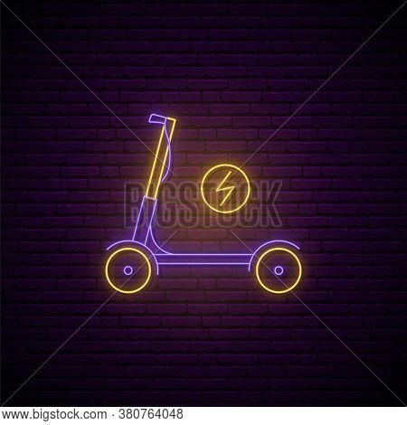 Neon Electric Scooter Sign. Glowing Kick Scooter Emblem In Neon Style. Vector Scooter Rent Service I