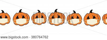 Corona Halloween Pumpkin Seamless Vector Border. Pumpkins Wearing Face Masks Repeating Pattern. Covi