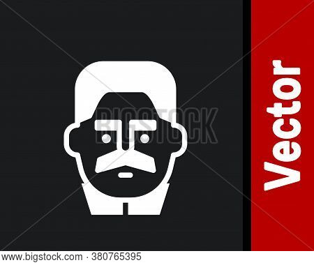 White Portrait Of Joseph Stalin Icon Isolated On Black Background. Vector