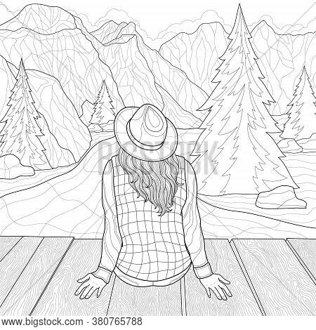 The Girl Sits On The Bridge And Looks At The Mountains. Landscape.coloring Book Antistress For Child