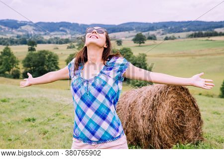 Beautiful Woman Smiling In Nature. Happy People Lifestyle. Woman In Fields Nature. Nature Lifestyle.