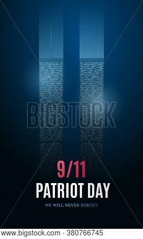 Patriot Day Banner With Light Building Silhouettes On Blue Background. September 11, American Rememb