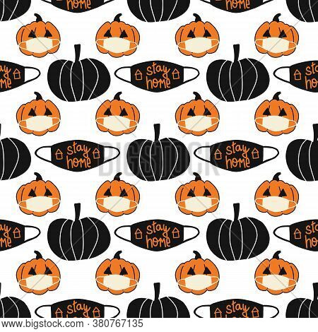 Halloween 2020 Stay Home Seamless Vector Background. Repeating Coronavirus Pattern With Pumpkins Wea