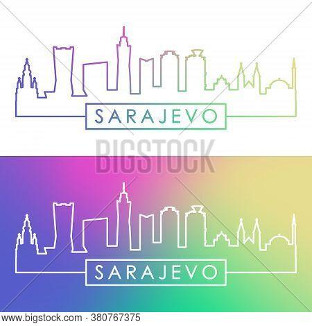 Sarajevo Skyline. Colorful Linear Style. Editable Vector File.