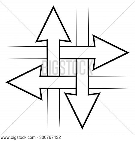 Intersecting Arrows Sign, Intersection Symbol, Vector Simple Icon With Concept Of Communication, Con