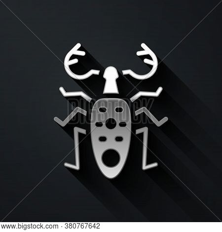 Silver Beetle Deer Icon Isolated On Black Background. Horned Beetle. Big Insect. Long Shadow Style.