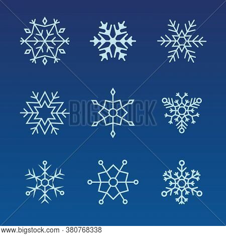 Snowflakes Set. Winter Flat Vector Decorations Elements. Snowflake Icons. Snowflakes Collection For
