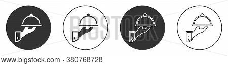 Black Covered With A Tray Of Food Icon Isolated On White Background. Tray And Lid Sign. Restaurant C