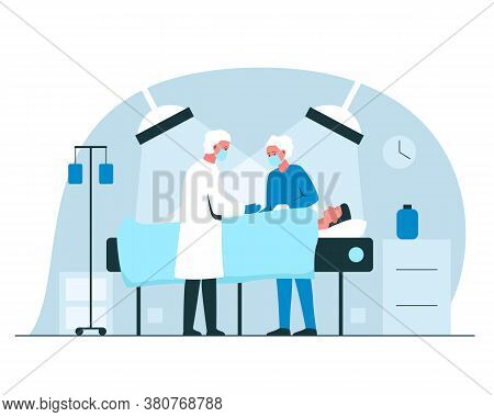 Male Surgeon And Nurse Performing An Operation In Surgery Room In A Hospital. Vector Concept Illustr
