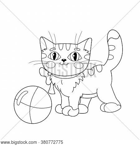 Coloring Page Outline Of A Fluffy Cat Playing With Ball. Coloring Book For Kids