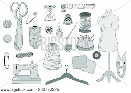 Sewing. Everything For Sewing. Thematic Selection. Sketch. Vector. For Design
