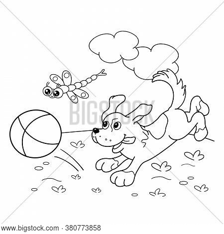 Coloring Page Outline Of Cartoon Dog With Ball And With Dragonfly. Coloring Book For Kids
