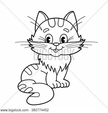 Coloring Page Outline Of Cartoon Fluffy Cat. Coloring Book For Kids