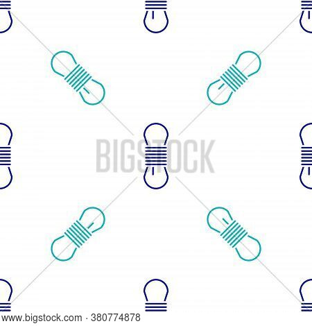 Blue Climber Rope Icon Isolated Seamless Pattern On White Background. Extreme Sport. Sport Equipment