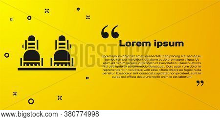 Black Snowboard Icon Isolated On Yellow Background. Snowboarding Board Icon. Extreme Sport. Sport Eq