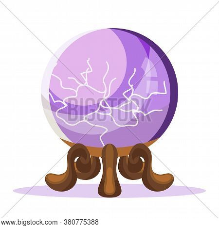 Spiritual Crystal Ball Isolated On White Background. Purple Glass Sphere With Energetic Flash Lightn