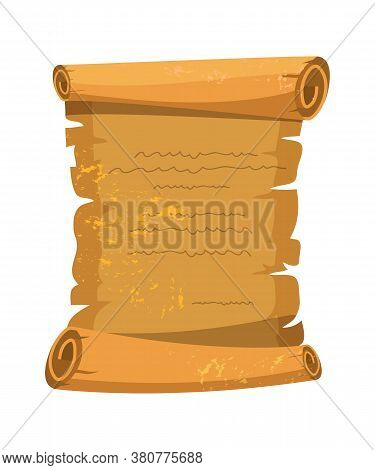 Vector Cartoon Illustration Of Old Open Brown Scroll. Ancient, Historical Document, Vintage Letter,