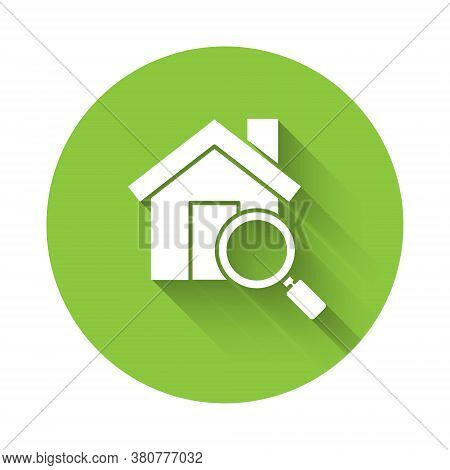 White Search House Icon Isolated With Long Shadow. Real Estate Symbol Of A House Under Magnifying Gl
